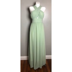 Cross-front Chiffon Bridesmaid Prom Dress
